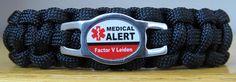 Factor V Leiden Bracelet, Medical Alert Bracelet, Survival Bracelet