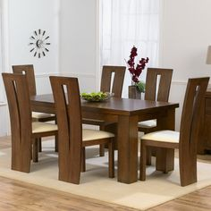 Pacific dark solid oak medium dining table and 6 arizona chairs set Oak Dining Sets, Oak Dining Room, Solid Oak Dining Table, Dining Room Table Decor, Dining Chairs, Wooden Dining Table Designs, Dining Room Furniture Design, Dinning Table Design, Wooden Dining Tables