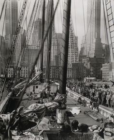 Theoline, Pier 11 or 12, East River, Manhattan, April 1936. Photo by Berenice Abbott.