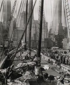 Theoline, Pier 11 or 12, East River, Manhattan, April 1936. Photo by Berenice Abbott.