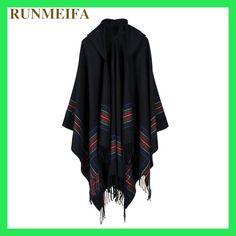 [RUNMEIFA] Faux sjaal cape dual herfst en winter verdikking vrouwelijke hooded mantel middellange bovenkleding match korte
