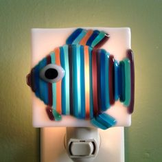 Fused Glass Striped Fish Night Light by LaGlasSea on Etsy