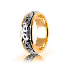 Two Tone 10k Yellow-white-yellow Gold Celtic Love Knot Wedding Band Polish 8mm 01687