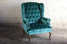 Teal Green Velvet Tufted Wingback Chair by TheFeelingofHome, $350.00