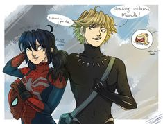 I know Halloween is behind us, but I had things to do! So here's Miraculous - Halloween day! c:< Black Panther Adrien and Spidey-Marinette! Comics Ladybug, Meraculous Ladybug, Miraculous Ladybug Fanfiction, Miraculous Ladybug Fan Art, Los Miraculous, Desenhos Gravity Falls, Adrien Y Marinette, Miraculous Ladybug Wallpaper, Chibi