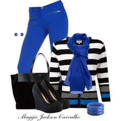 Electric Blue Skinny Jeans, created by maggie-jackson-carvalho on Polyvore