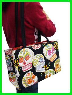 US HANDMADE FASHION Sugar Skulls Halloween Gothic Handmade handbag purse Alexander Henry fabrics, BX 1008 - Top handle bags (*Amazon Partner-Link)