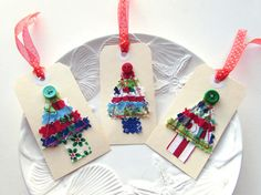 Gift tag Christmas Tree tag Appliqued fabric tag by Itsewbella