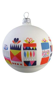 Nordstrom at Home 'Present' Glass Ball Ornament
