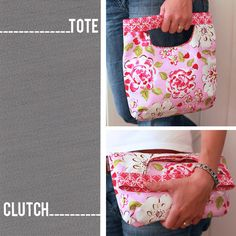 PDF Sewing Pattern - Fold Over Clutch / Tote Bag. $8.00, via Etsy.