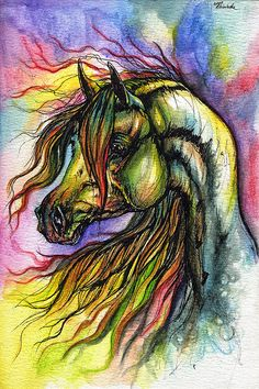 Rainbow horse watercolor painting - Approximately $109.58 USD