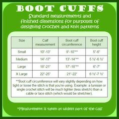 Crochet boot cuff size chart. More