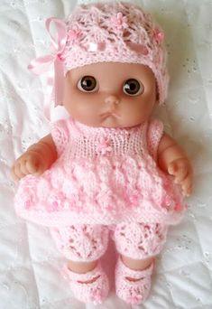 Dolls Knitting Pattern 8 inch Lil Cutesies lacey Dress Hat Mary Jane Shoes | eBay Baby Doll Clothes, Doll Clothes Patterns, Clothing Patterns, Baby Dolls, Dress Hats, Mary Jane Shoes, Mary Janes, Knitting Patterns, Crochet Hats