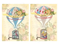 These pretty vintage inspired digital prints of hot air balloons and vintage ephemera would look lovely framed and placed on a desk, bedside