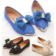 Fashion Metal Pointy Toe Lace Crochet Bowknot Slip On Loafers Ballet Smart Shoes #Handmade #BalletFlats #CareerWorkClubwearCocktailCasualWedding