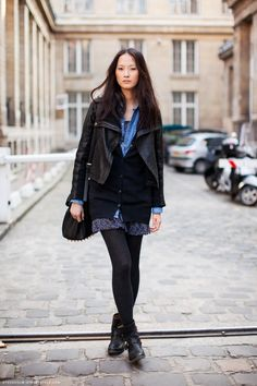 Layered in jean shirt+leather jacket+girly flower dress, and the finishing touch, Alexander Wang bag. Feminine plus rock! , #style, #inspiration, #leather, #layers, #blue, #black, #rock