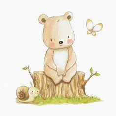 Cute bear sitting on a stump with a butterfly and a snail