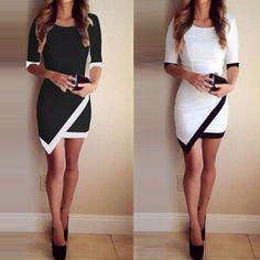 White & Black Patchwork Elegant Dresses Bodycon Pencil Short Mini Dress #graduationdresses
