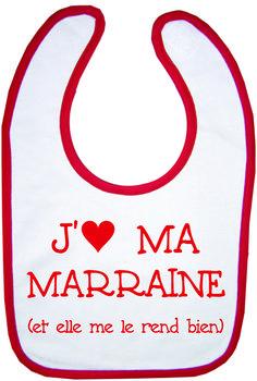 "BAVOIR BLANC/ROUGE ""J'AIME MA MARRAINE"""