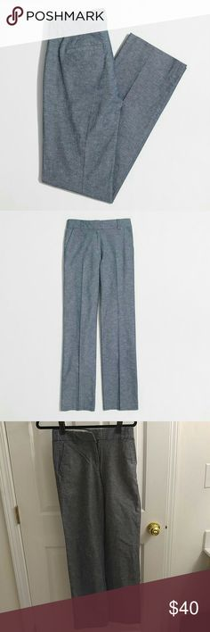 "J. Crew Chambray Trousers Cotton/linen. Sits above hip. Straight through hip and thigh, with a wider leg. 32 1/2"" inseam.Traditional 5-pocket styling. Machine wash. Tag removed J. Crew Pants Trousers"