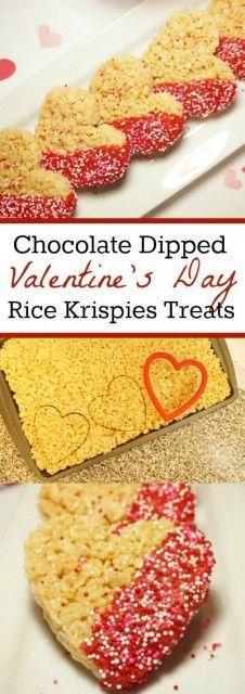 Valentine's Day Treats - Heart Shaped Chocolate Dipped Rice Krispies Treats