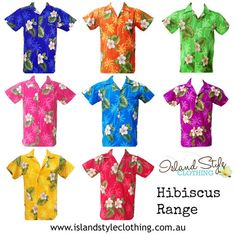 HIbiscus Range looks great in a large group same print, vary the colours. Unforms, parties, cruise, halloween, clubs and you name it!