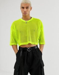 Find the best selection of ASOS DESIGN festival two-piece oversized cropped t-shirt with half sleeve in mesh in lime green. Shop today with free delivery and returns (Ts&Cs apply) with ASOS! Mode Masculine, Half Shirt For Man, Lime Green Outfits, Gothic Fashion Men, Mens Crop Top, Gay Outfit, Boys Summer Outfits, Half Shirts, Crop Top Outfits