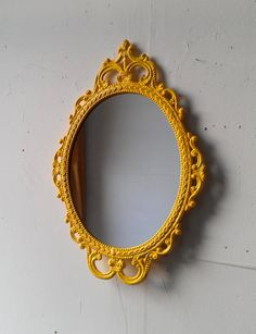 Framed Oval Mirror in Vintage Metal Frame - 17 x 12 inch Handpainted Brass in Bright Yellow