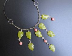 Statement Necklace, Handmade necklace and earring set of Lemon Jade Carved Leaf Beads