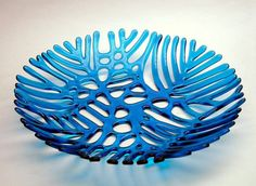 Kiln-formed Glass Coral Bowl in Turquoise by tesoroglass on Etsy