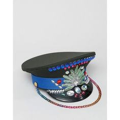 Savage Rainbow Blue Gem Military Hat ($79) ❤ liked on Polyvore featuring accessories, hats, blue hat, woven hat, flat bill hats, short brim hat and military hats