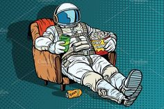 Astronaut the audience with beer and popcorn sitting in a chair @creativework247