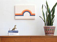"Dreamscape (Yellow-Orange/Red-Orange/Blue) 20""x14"" $110 geometric / vintage inspired / boys room / living room / modern wall art"