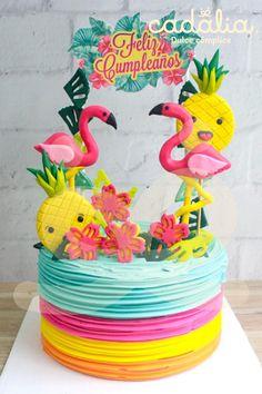 Hawaii Birthday Cake, Flamingo Birthday, Flamingo Party, Birthday Cake Girls, Birthday Balloons, Pool Party Favors, Pool Party Kids, Rainbow Unicorn Party, 9th Birthday Parties
