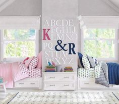 Shop Pottery Barn Kids' Belden Shared Kids Room for shared bedroom ideas and inspiration. Find furniture, bedding and more that will be perfect for siblings sharing a room. Boy And Girl Shared Room, Boy Girl Room, Baby And Toddler Shared Room, Child Room, Bedroom Sets, Girls Bedroom, Bedding Sets, Bedroom Storage, Crib Bedding