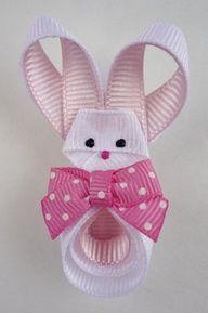 DIY Easter bunny rabbit ribbon hair clip