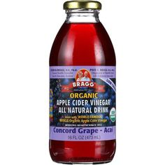 apple cider vinegar benefits Bragg Apple Cider Vinegar Drink - Organic - Concord Grape-acai - 16 Oz - Case Of 12 - Shop HBees for premium brands vitamins, sports supplements, weight loss, natural foods, beauty Braggs Apple Cider Vinegar, Apple Cider Vinegar Remedies, Apple Cider Vinegar Benefits, Organic Apple Cider Vinegar, Braggs Acv, Apple Benefits, Juicing Benefits, Health Benefits, Diet