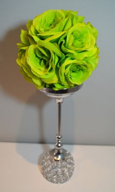 Silk Apple Green flower ball kissing ball pomander by KimeeKouture