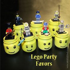 Lego party favors - spray paint baby food jars and put mystery mini figures in them as favors