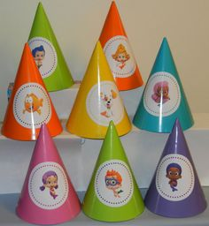 Bubble Guppy Guppies Birthday party hats decorations supplies set of 12 via Etsy