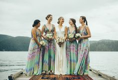 Delightful Bridesmaids Dresses from Camilla http://camilla.com.au/ | See the wedding on SMP: http://www.StyleMePretty.com/canada-weddings/british-columbia/vancouver/2014/01/16/vintage-north-vancouver-wedding/ Sweet Heirloom Photography