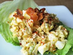 Egg salad with bacon is a paleo-friendly egg salad recipe. Enjoyed as a lettuce wrap or eaten as is, this is a delicious, quick and easy paleo-friendly lunch recipe. Paleo Egg Salad, Easy Egg Salad, Bacon Salad, Easy Healthy Recipes, Paleo Recipes, Whole Food Recipes, Atkins Recipes, Burger Recipes, Healthy Choices