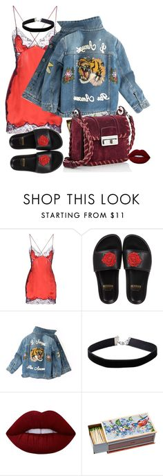 """""""Rihanna inspired look"""" by ri0tapparel ❤ liked on Polyvore featuring Versace, BUSCEMI, Gucci, Miss Selfridge, Lime Crime, Shandell's and Lanvin"""
