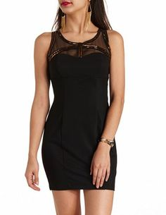Beaded Mesh Cut-Out Bodycon Dress: Charlotte Russe
