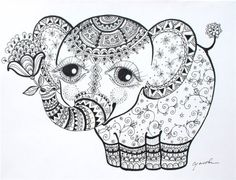 elephant calf abstract doodle zentangle zendoodle paisley coloring pages - Coloring Page Elephant Design