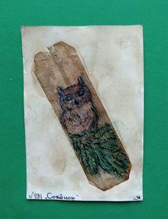 """191 день рисования на чайных пакетиках. """"Совёнок"""" /линер, акварельные карандаши/. #365чай#365чай_ладаяцына#teabag Tea Bag Art, Butcher Block Cutting Board"""
