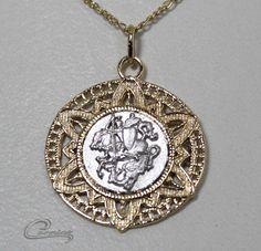 Pingente São Jorge - 10 camadas de ouro 18k - Joias Carmine