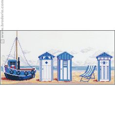 Cross Stitch Kit – Beach Cabins – Marie Coeur – The House of Canvas and Embroidery Cross Stitch Sea, Cross Stitch Patterns, Beach Huts Art, Paper Models, Le Point, Cross Stitching, Kids Rugs, Crafty, Embroidery