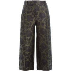 Alexander McQueen Wool-Silk Jacquard Culottes ($640) ❤ liked on Polyvore featuring pants, capris, green, green crop pants, green wide leg pants, wide leg cropped trousers, slim fit wool pants and slim fit pants