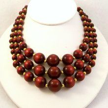 Vintage 1960s Necklace Multi Strand Burgundy Brown Moon Beads  $30.00